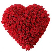 send hundred red roses full heart shaped big arrangement to dhaka, bangladesh