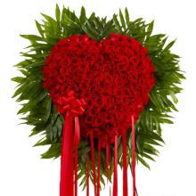 send hundred red roses elegant heart shaped big arrangement to dhaka, bangladesh