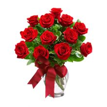 send 12 red roses in glass vase to dhaka, bangladesh