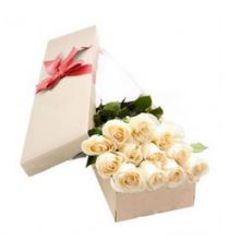 send 12 white roses full box arrangement to dhaka, bangladesh