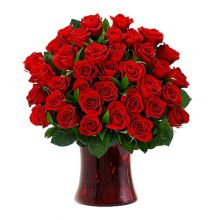 send 36 red roses in glass vase to dhaka, bangladesh