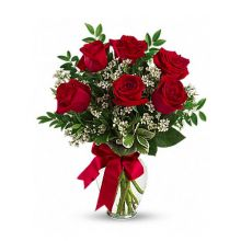 send 6 red roses roses in a glass vase to dhaka, bangladesh