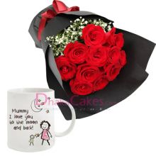 send roses with decorated mug to dhaka