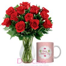 12 red roses in vase with mug send to dhaka