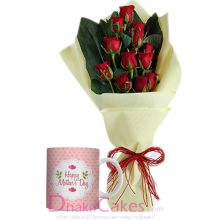 send mug with 9 red roses bouquet to dhaka