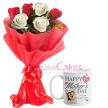 send ​red roses with mothers day mug to bangladesh
