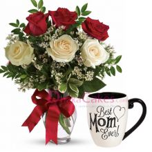 send roses in vase with decorated mug to bd