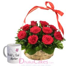 send roses in basket with mothers day mug to dhaka
