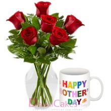 send roses in vase with decorated mug to dhaka