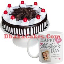 send black forest round cake with decorated mug to dhaka