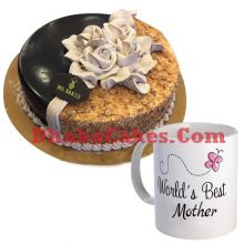 send hazle nut round cake with decorated mug to dhaka
