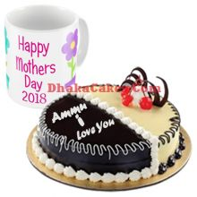 send mother's day decorated mug with chocolate & vanilla mix cake to dhaka