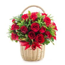 send 24 red roses in a hand basket to dhaka, bangladesh