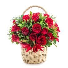 send 24 red roses in a hand basket to dhaka, bangladesh