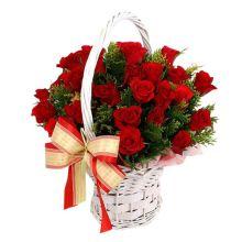 send 24 red roses in hand basket to dhaka, bangladesh