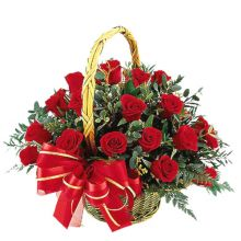 send 24 roses in basket to dhaka, bangladesh