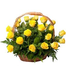 send ​24 yellow roses in a basket arrangement to dhaka, bangladesh