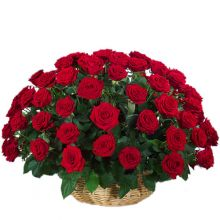 send ​50 red roses in a basket arrangement to dhaka, bangladesh