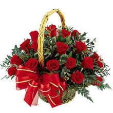 send ​36 red roses in a basket arrangement to dhaka, bangladesh