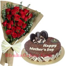 send 12 red roses with chocolate rice round cake to dhaka