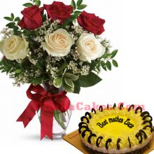send lemon round cake with 6 roses in vase to dhaka