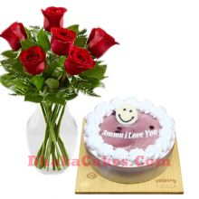 send cake with roses to dhaka