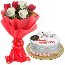send mr baker vanilla round cake with roses in bouquet to dhaka