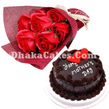 send mothers day cake with imported red roses to dhaka