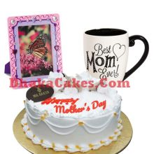 send vanilla cake,photo frame with decorated mug to bd