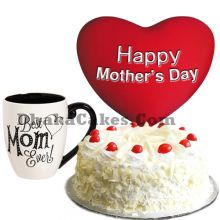 send white forest round cake with pillow and mug to dhaka