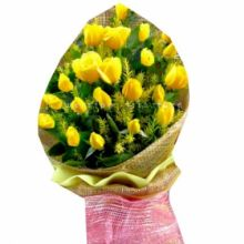 Send 12 Yellow Roses in Bouquet to Dhaka in Bangladesh