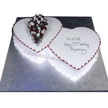 6.6 Pound Vanilla Double Heart Cake by Skylark Send To Dhaka