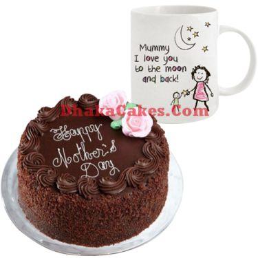 send mother's day decorated mug with chocolate cake to dhaka