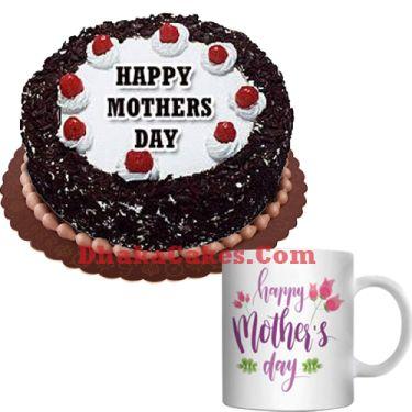 send decorated mug with black forest cake to dhaka