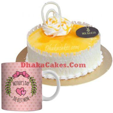 send musk mellon round cake with mother's day mug to dhaka
