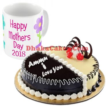 send mother's day decorated mug with chocolate & vanilla mix cake to dhaka
