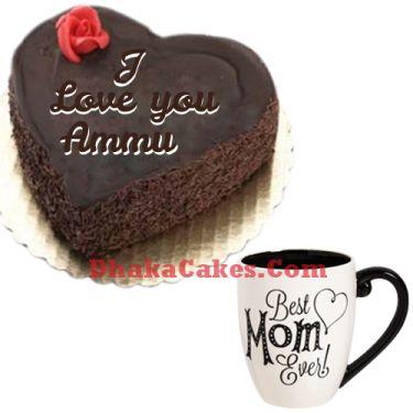 send round chocolate cake with decorated mug to dhaka