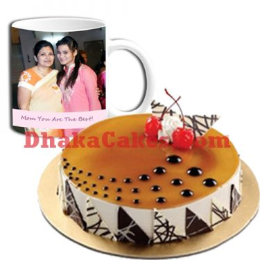 send decorated cake with mother's day decorated mug to dhaka