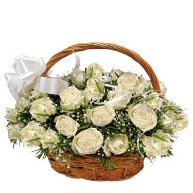 send 24 white roses in beautiful basket to dhaka, bangladesh