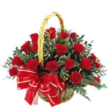 send 24 roses in basket to dhaka, bangladesh