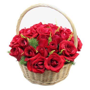 send 24 red roses in a basket arrangement to dhaka, bangladesh