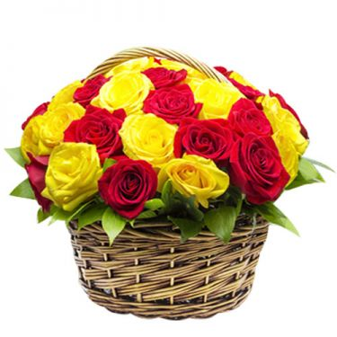 send 24 red and yellow roses in basket to dhaka, bangladesh