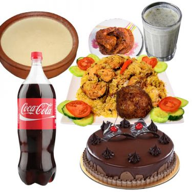 biryani with roast,zali kabab,borhani,coke,doi and cake